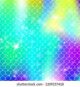Rainbow scales background with kawaii mermaid princess pattern. Fish tail banner with magic sparkles and stars. Sea fantasy invitation for girlie party. Iridescent backdrop with rainbow scales.