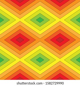Rainbow seamless pattern with a predominance of gradations of yellow, red and green. Concentric rhombuses. Vector illustration