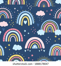 Rainbow seamless pattern. Vector hand drawn rainbow in cartoon Scandinavian style for kids wrapping paper, textile, wallpaper, prints, fabric. Rainbow set with clouds, stars, sunshine, drops, heart.