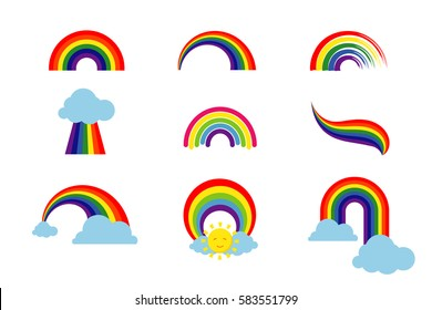 Rainbow set isolated on white background. Multicolored stripes light arch icons vector illustration. Colorful ribbon collection, bright curve natural phenomenon