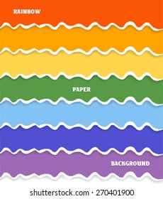 Rainbow set of paper backgrounds with torn edges with place for your text. Vector eps 10.