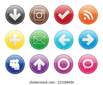 Rainbow Set of Textured Icons