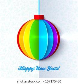 Rainbow shining colorful Christmas ball light greeting card