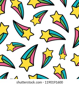 Rainbow Shooting Star Pastel Repeat Seamless Pattern Fun Cute Transparent Background
