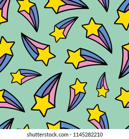 Rainbow Shooting Star Repeat Seamless Pattern Fun Background