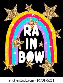 rainbow slogan and hand drawing rainbow vector.