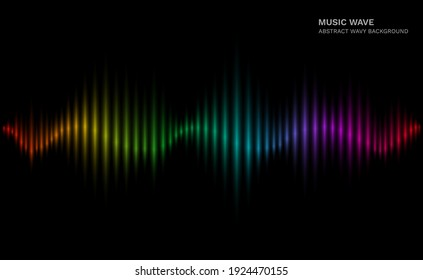 .Rainbow sound wave. Multicolor sonic dynamic waveform on dark background. Abstract electronic music futuristic vector equalizer concept. Waveform frequency, sound wave voice illustration