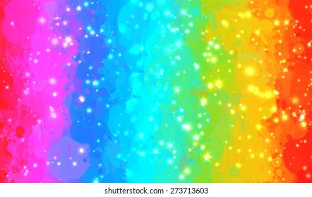 Rainbow and sparkles brush strokes background. Vector version