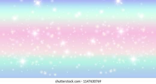 Rainbow sparkling background, vector illustration. Cute unicorn colors palette, stars made of glitter, defocused bright design.