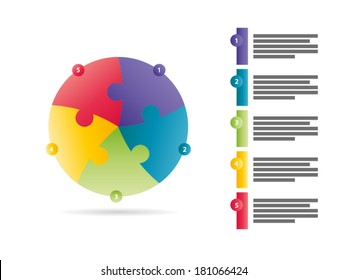 Rainbow spectrum colored five sided puzzle presentation infographic template with explanatory text field isolated on white background