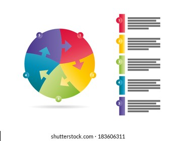 Rainbow spectrum colored five sided arrow puzzle presentation infographic vector graphic template with explanatory text field isolated on white background