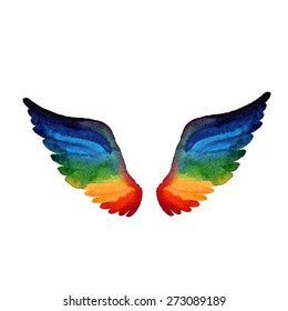 rainbow spectrum wings icon watercolor style, creativity or gay rights concept vector illustration