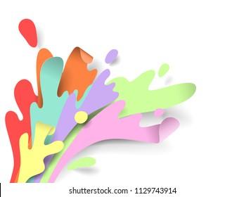 Rainbow splash water, paper art/paper cutting style