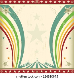 Rainbow square circus invitation. A retro square circus background for an invitation with two rainbows