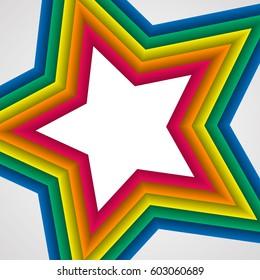 Rainbow star on white. Rainbow abstract background. Rainbow border. Rainbow vector colors.