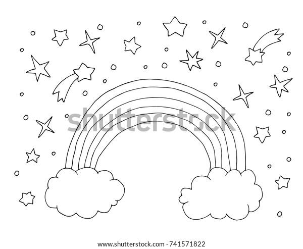 Image Vectorielle De Stock De Ciel Arcenciel Et Ciel Kawaii