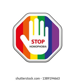 """Rainbow stop sign with a hand and text """" Stop Homophobia""""for the International Day Against Homophobia. Without background, isolated, clip art."""