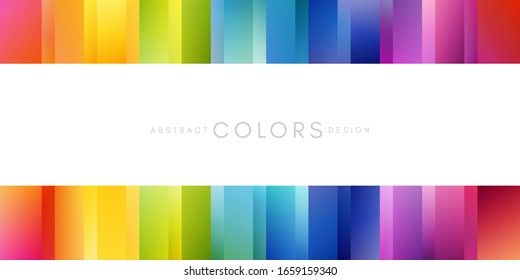Rainbow strippes decoration. Colorful abstraction design elements. Vector horizontal borders with copy space.
