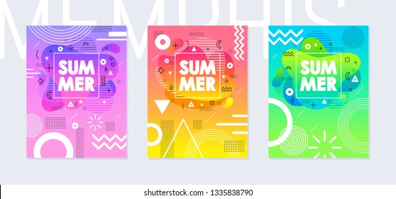 Rainbow summer poster set in geometric style. Disco light fluid art. Memphis prism & amoeba trendy elements on color background. Cool for t-shirt print, music cover, disco banner, party invitation