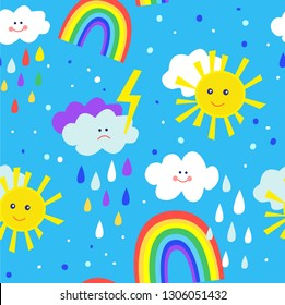 Rainbow and sun funny seamless pattern for kids. Vector graphic illustration