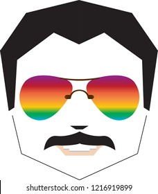 rainbow sunglasses face