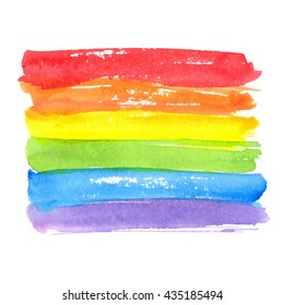 Rainbow texture, symbol of gay pride. Vector watercolor spectrum. Hand drawn paint strokes isolated on white background