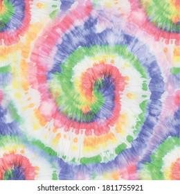 Rainbow Tie Dye Swirl. Spiral Tie Dye Paint. Stripe Dirty Art. Vector Dyed Repeat. Rainbow Tie Dye. Multi Swirl Tie Dye. Seamless Colorful Hippie. Rainbow Spiral Circle Batik. Vector Rainbow Pattern