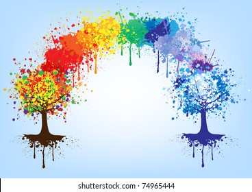 Rainbow and trees, vector colors background