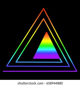 Rainbow triangle in another triangle, consisting of rainbow colors, isolated on a black background. Vector illustration.Color page for adults and children. Book, textile, print, poster,design,card,art