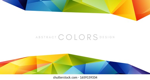Rainbow triangle polygonal shape decoration. Colorful abstraction design elements. Vector horizontal borders with copy space.