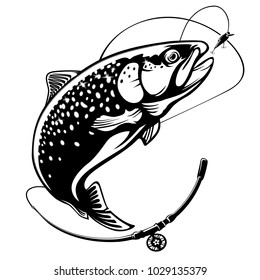Rainbow trout fish jumping out water.Salmon fishing logo isolated on white background. Concept fishing art for horoscope, tattoo or colouring book.