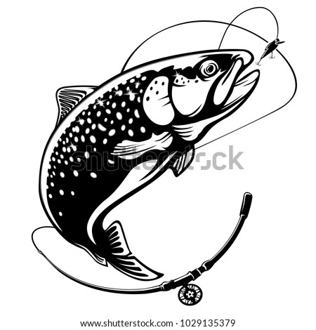 Rainbow Trout Fish Jumping Out Water Salmon Stock Vector Royalty
