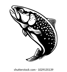 Rainbow trout jumping out water.Salmon fish isolated on white background. Concept art of trout for horoscope, fishing tattoo or colouring book.