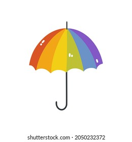 The rainbow umbrella is an LGBTQ symbol. Vector illustration of a rainbow umbrella isolated on a white background. A simple flat umbrella icon. Happy pride month.