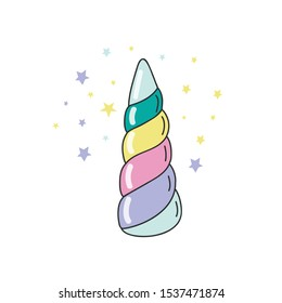 Rainbow unicorn horn. Color Vector color illustration in doodle style.