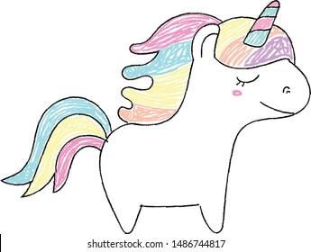 Rainbow Unicorn kawaii crayon drawing  pastel colors, vector isolated cute kid drawing