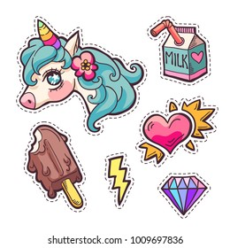rainbow unicorn, milk, icecream, diamond, heart, flash patches. Trendy fashion hand drawn embroidery cute stickers pack in cartoon style. Vector illustration isolated on white.