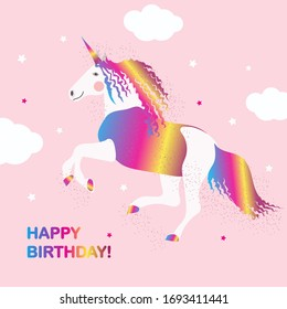 Rainbow unicorn on a pink background with a stars. Happy Birthday card.