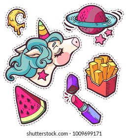 rainbow unicorn, planet, watermellon, lipstick patches. Trendy fashion hand drawn embroidery cute stickers pack in cartoon style. Vector illustration isolated on white.