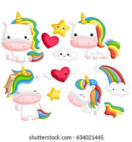 Rainbow Unicorn vector set