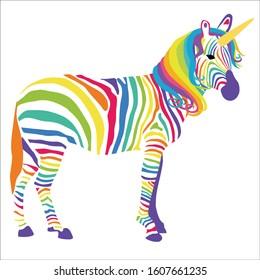 Rainbow Unicorn Zebra Vector Illustration, Magical Creature, Spiritual Animal, Fantasy Animal, Safari Animal