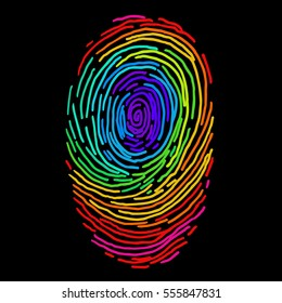 Rainbow vector fingerprint sketch. Hand drawn outline illustration with human finger print with whole spectrum colors