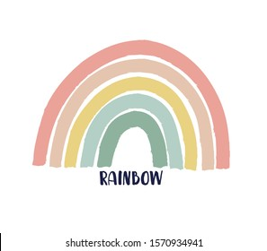 Rainbow Vector Icon. Kids drawing of rainbow