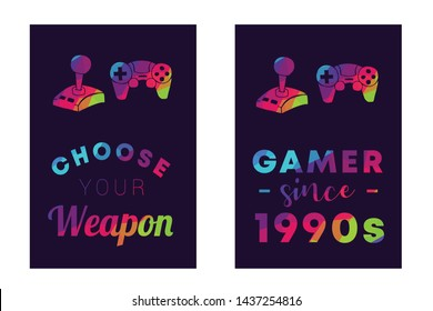 """Rainbow Vector Illustration Set or Collection of Gaming Controller with Text / Typography """"Choose Your Weapon and Gamer Since 1990s"""". Graphic Design for Poster, Cards, Shirt, and Background."""