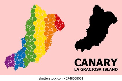 Rainbow vibrant pattern vector map of La Graciosa Island for LGBT, and black version. Geographic collage map of La Graciosa Island is constructed from random round spheric spots.