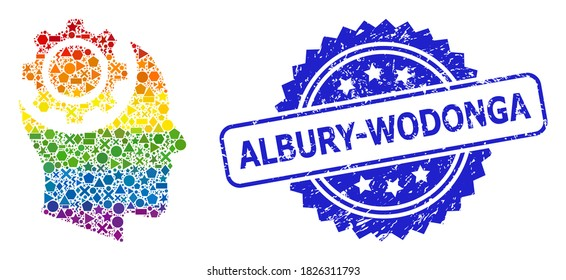 Rainbow vibrant vector human intellect gear collage for LGBT, and Albury-Wodonga scratched rosette seal print. Blue stamp seal contains Albury-Wodonga title inside rosette.