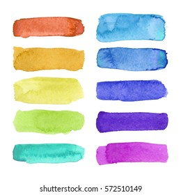 Rainbow watercolor brush stroke green stripes isolated on white. Colorful painted grunge stripes set. Vector illustration.