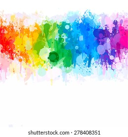 Rainbow watercolor brush strokes background. Vector version