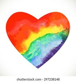 Rainbow watercolor heart. Vector illustration for graphic design.