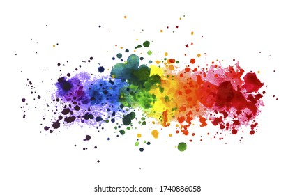 rainbow watercolor splash background. vector illustration